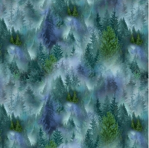 Mountain Vista Evergreen Forest Trees in Mist Blue Green Cotton Fabric