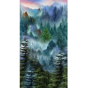 Mountain Vista Evergreen Forest Trees Mist 24x44 Cotton Fabric Panel