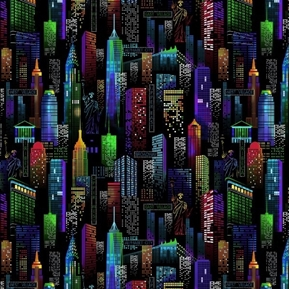New York City Bright Buildings Skyline NYC Icons Black Cotton Fabric