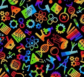 Science and Space Chemistry Lab Equipment Rainbow Black Cotton Fabric