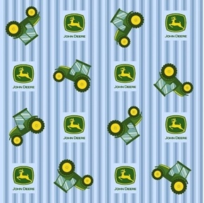 John Deere Nursery Tossed Tractors on Blue Ticking Cotton Fabric