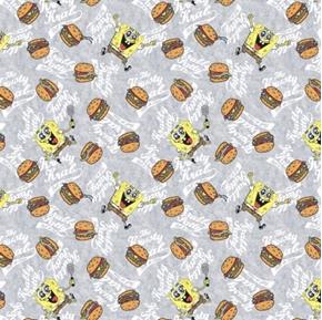SpongeBob Square Pants Krabby Patties Burgers and Bobs Cotton Fabric