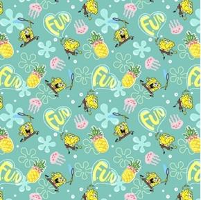SpongeBob Square Pants Pineapple Fun Nickelodeon Teal Cotton Fabric