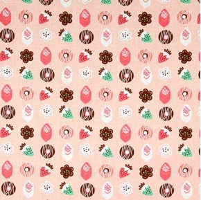 Gingerbread Bakery Petits Fours Candy Strawberries Pink Cotton Fabric