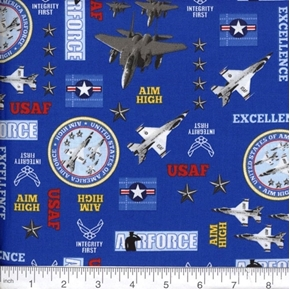Military Air Force USAF Fighter Planes Aim High Blue Cotton Fabric