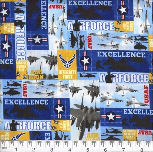 Military Air Force USAF Jets Helicopters Aim High Squares Cotton Fabric