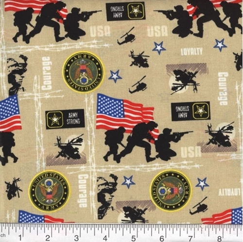 Military Army Strong Soldiers Seals Helicopters Beige Cotton Fabric