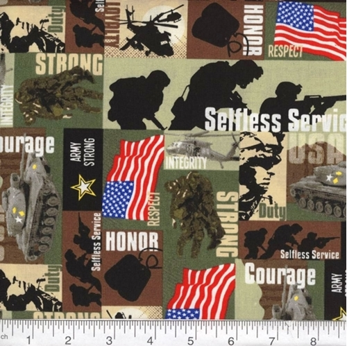 Military Army Strong Tanks Soldiers Respect Duty Squares Cotton Fabric