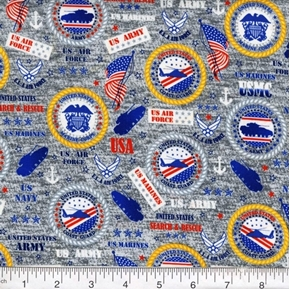 Military Service Marines Army Navy Air Force Seals Grey Cotton Fabric
