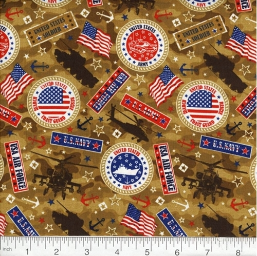 Military Marines Army Navy Air Force Seals Brown Camo Cotton Fabric
