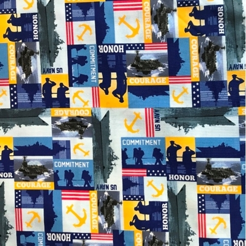 Military Navy Soldiers Ships Anchors Squares Cotton Fabric