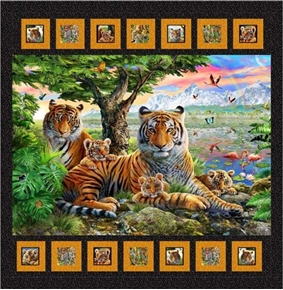 Artworks XIV Jungle Family Bengal Tiger Mother Cubs 47x48 Quilt Kit