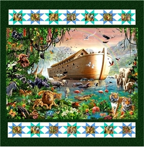 Artworks XIV Noahs Ark Animal Menagerie Digital 46x50 Quilt Kit