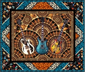 Picture of Good Vibrations Guitar Rock & Roll Music 56x48 Wall Hanging Quilt Kit