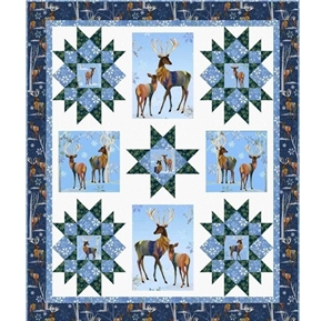 First Frost Deer Winter Stars Quilt Pattern 44x52 Throw Size Quilt Kit