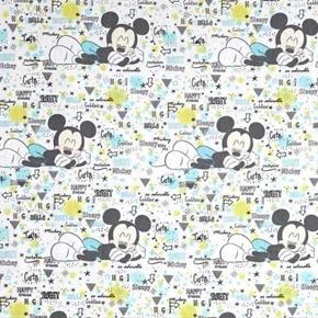 Disney Mickey Mouse Peekaboo Nursery Sleepy White Cotton Fabric