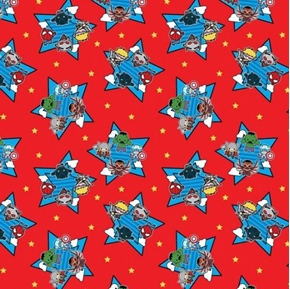 Marvel Superheroes Kawaii Characters in Stars Red Cotton Fabric