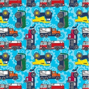 Tonka Trucks Dump Truck Firetruck Plow Toy Trucks Aqua Cotton Fabric