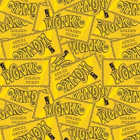 Willy Wonka and the Chocolate Factory Golden Ticket Cotton Fabric