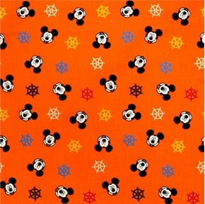 Picture of Disney Mickey Mouse Ships Wheel Nautical Orange Cotton Fabric