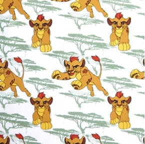 Picture of Disney The Lion Guard Movie Kion Playful Cub White Cotton Fabric