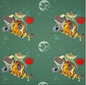 Disney The Lion Guard All For One Kion and Friends Green Cotton Fabric