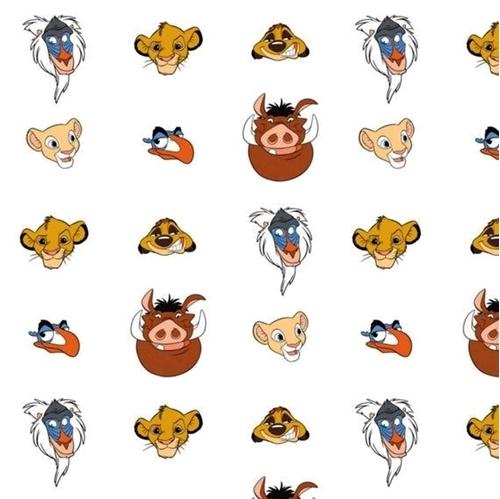 Disney Lion King Simba Geo Print Pumbaa Zazu Timon Cotton Fabric Fat Quarter