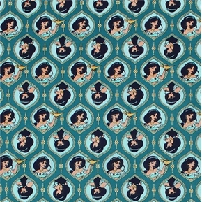 Disney Aladdin Movie Jasmine Frames Teal Metallic Cotton Fabric