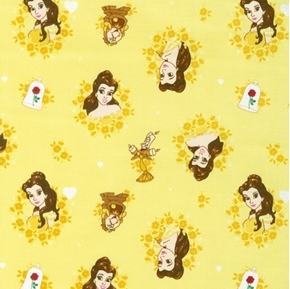 Disney Forever Princess Belle in Floral Wreathes Yellow Cotton Fabric