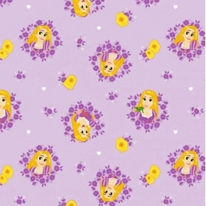 Disney Forever Princess Rapunzel in Wreathes Lavender Cotton Fabric