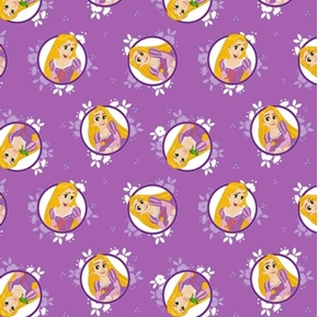 Picture of Disney Forever Princess Rapunzel in Circles Purple Cotton Fabric