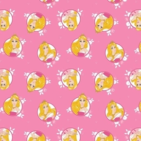 Disney Forever Princess Aurora in Circles Bright Pink Cotton Fabric