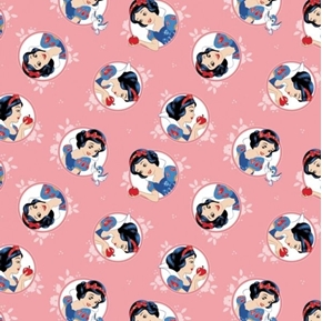 Disney Forever Princess Snow White in Circles Pink Cotton Fabric