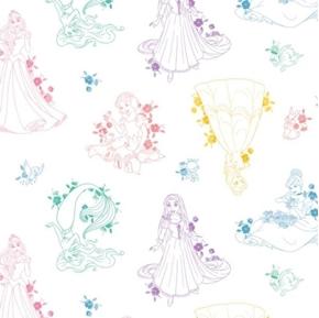 Picture of Disney Forever Princess Toile Belle Aurora Cinderella Cotton Fabric