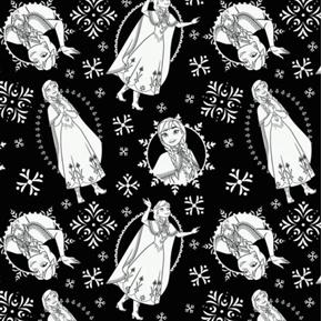 Disney Frozen Anna Poses Movie Black and White Cotton Fabric