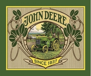 John Deere Vintage Farm Tractor 1937 Large Cotton Fabric Panel