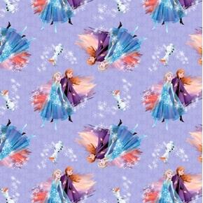Disney Frozen II Destiny Awaits Anna Elsa Olaf Purple Cotton Fabric
