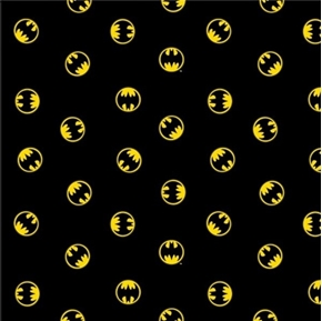 Batman 80th Anniversary Logo Bat Signs on Black Cotton Fabric