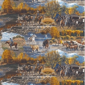Mountain Pass Cowboys Wrangling Horses and Cattle Scenic Cotton Fabric
