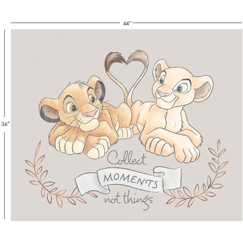 Disney Sentimental Lion King Simba and Nala Large Cotton Fabric Panel
