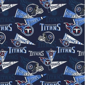 NFL Football Tennessee Titans Retro Pennants Blue Cotton Fabric