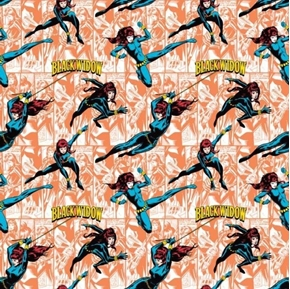 DC Comics II Black Widow in Action Coral Cotton Fabric