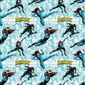 DC Comics II Black Widow in Action Blue Cotton Fabric