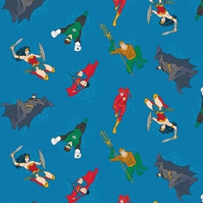 DC Comics Justice League Activated Hero Actions Blue Cotton Fabric