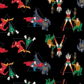 DC Comics Justice League Hero Pyramid Superhero Black Cotton Fabric