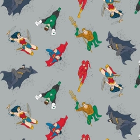 DC Comics Justice League Activated Hero Actions Grey Cotton Fabric