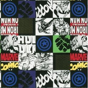 Avengers Unite Marvel Hero Block Superhero Squares Cotton Fabric