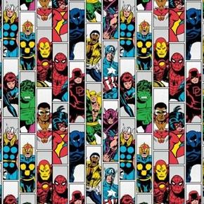 Avengers Unite Marvel Bravery Superhero Character Stripe Cotton Fabric
