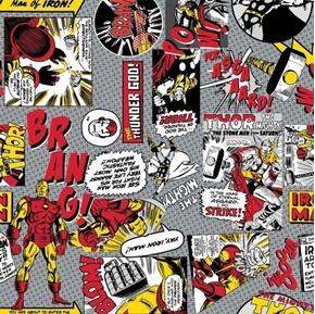 Marvel Comic Pop Power Ironman Versus Thor Comics Cotton Fabric