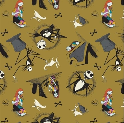 Nightmare Before Christmas Jack is Back Tombstones Brown Cotton Fabric